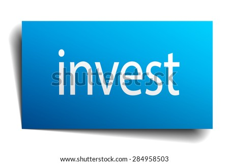 invest blue paper sign on white background