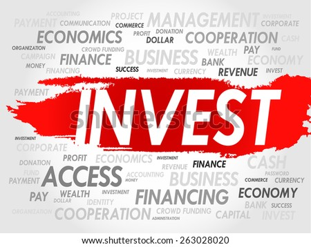 INVEST word cloud, business concept - stock vector
