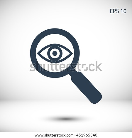 Investigate vector icon. Style is flat rounded symbol - stock vector