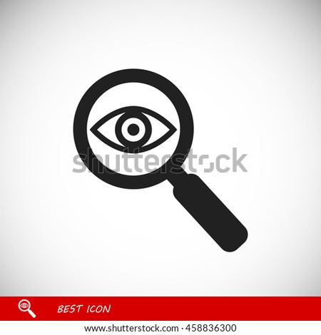 Investigate vector icon. Style is flat rounded symbol, black color - stock vector