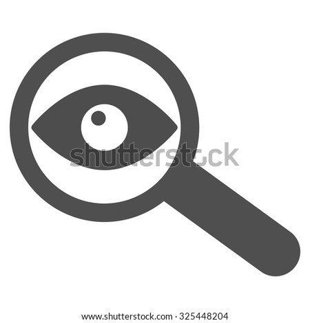 Investigate vector icon. Style is flat symbol, gray color, rounded angles, white background. - stock vector