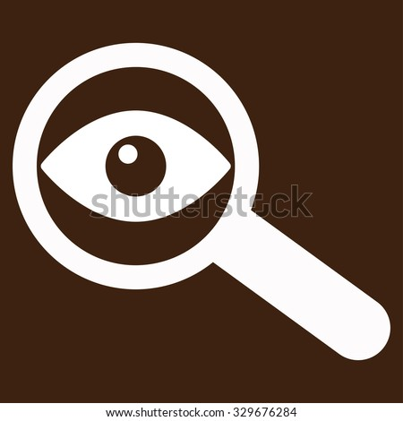 Investigate vector icon. Style is flat symbol, white color, rounded angles, brown background. - stock vector