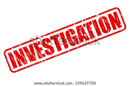 INVESTIGATION red stamp text on white - stock vector