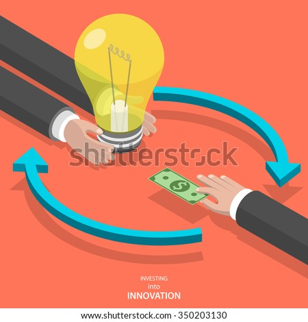 Investing into innovation flat isometric vector concept. Mans hands offer lightbulb and other mans hand instead of it gives bank note. - stock vector