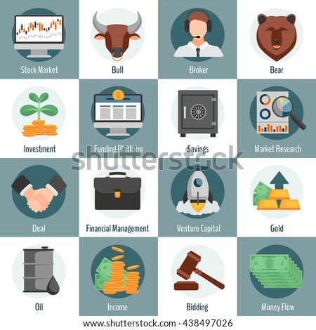 Investment Trading Flat Icons Set Web Stock Vector 438497026