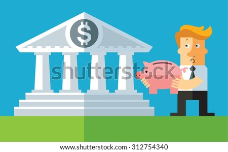 investment. Businessman carry his piggy bank into bank. Flat vector business illustration - stock vector