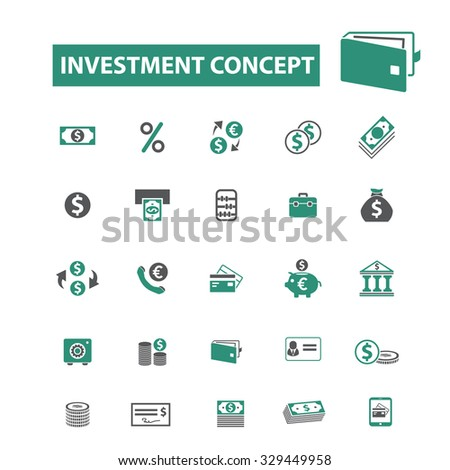 investment, finance, money concept icons
