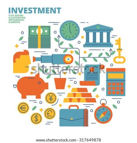 Investment, Flat Design, Illustration - stock vector
