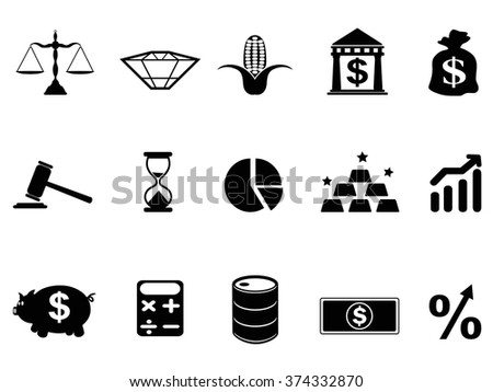 investment icons set - stock vector
