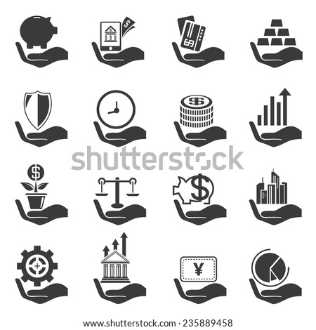 investment icons set, hand holding money objects - stock vector