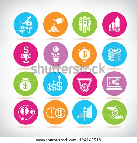 investment icons set, money icons set - stock vector