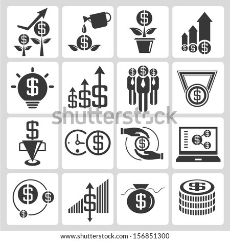 investment, money allocation icons set, money icons - stock vector