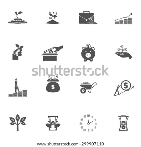 Investment money bucks coins tree and box dollar silhouette black flat icon set isolated vector illustration  - stock vector