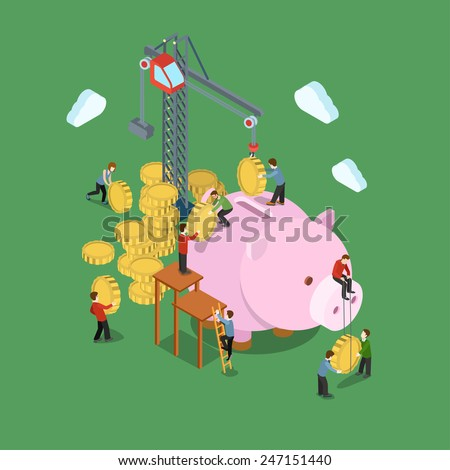 Investment process concept flat 3d web isometric infographic vector. Crane and people put in coins to moneybox. Creative people financial monetary piggy bank savings collection. - stock vector