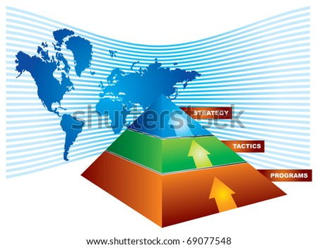 Investment strategy - abstract illustration with color pyramid and map - stock vector