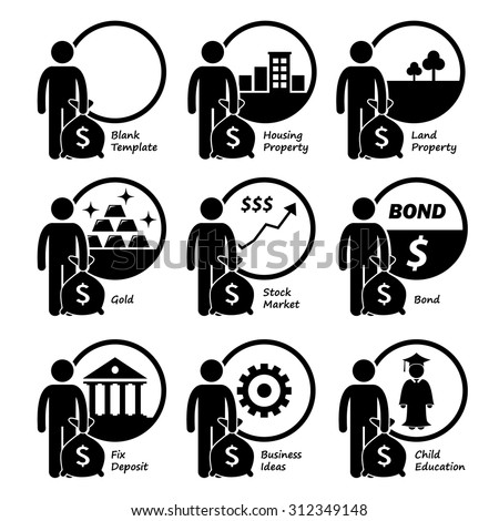 Investor Investing Investment in Housing, Land, Gold, Stock Market, Bond, Business Venture, and Children Education - stock vector