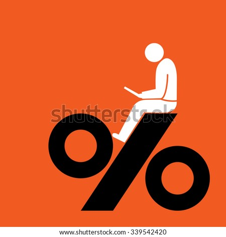 investor sitting with tablet on top of high interest rate percentage