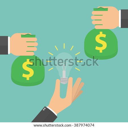 Investors offering money for idea concept. Hand holding lightbulb and other hands holding or giving money bags. Vector illustration in flat style - stock vector