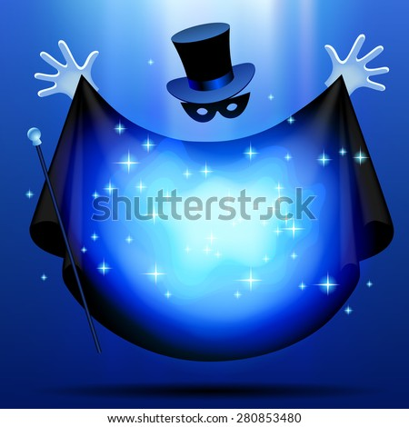 Invisible magician in top hat  and mask with black cloak performing a magic act with blue luminous cloud. Wizard art. Vector illustration - stock vector