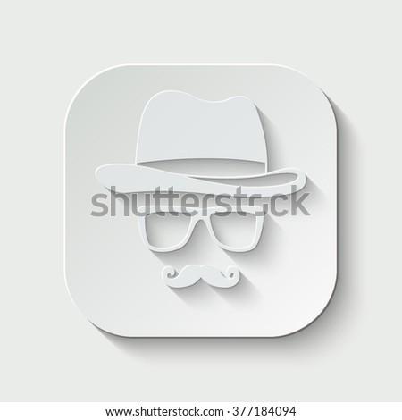 invisible man vector icon - paper illustration - stock vector