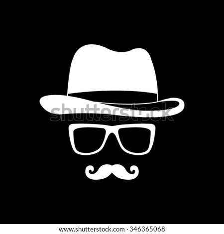 invisible man with hat glasses and mustaches vector icon isolated on black - stock vector
