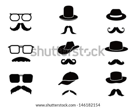 Invisible man with mustache ,glasses and hats - stock vector