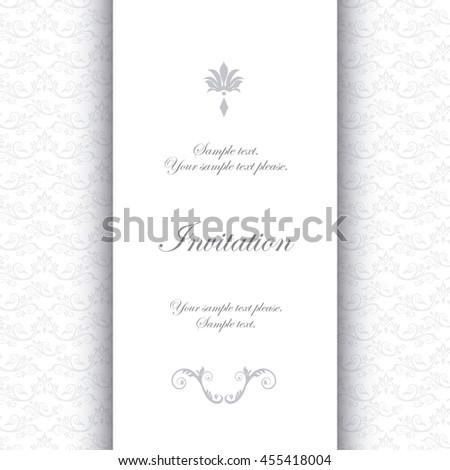 Invitation and save the date concept represented by decoration card icon. White illustration.