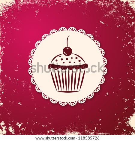 Invitation applique card / background. Label with cupcake on grunge cherry background.