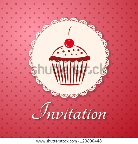 Invitation applique card / background. Label with cupcake on pink background with polka dots. - stock vector