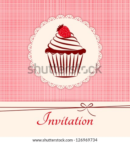 Invitation applique card / background. Label with cupcake on pink seamless textile background. - stock vector