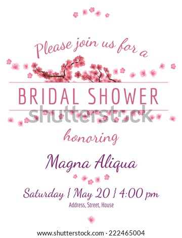 Invitation bridal shower card with sakura vector template - for invitations, flyers, postcards, cards and so on - stock vector