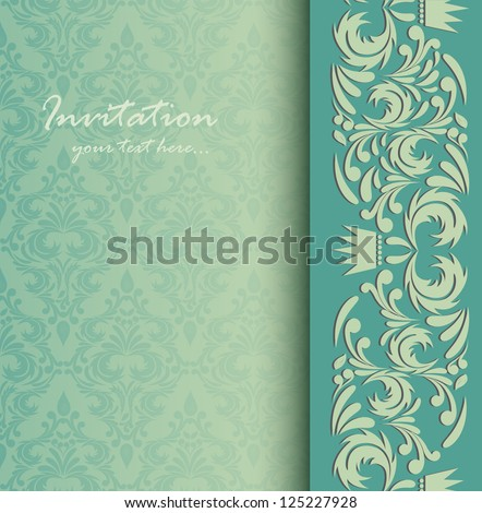 Invitation card. Abstract background with damask pattern - stock vector