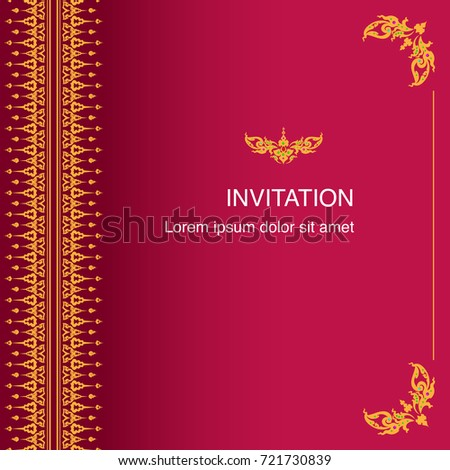 Invitation card congratulation frame border design stock vector invitation card and congratulation frame border design vector in thai classic style decoration gold and red stopboris Images