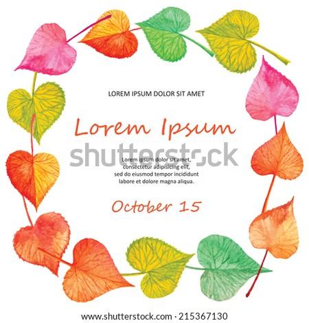 invitation card autumn leaves design vector stock vector 215367130