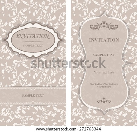 Invitation card Baroque beige and brown