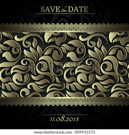 Invitation card Baroque black and gold colored seamless abstract floral background, Vintage frame and borders