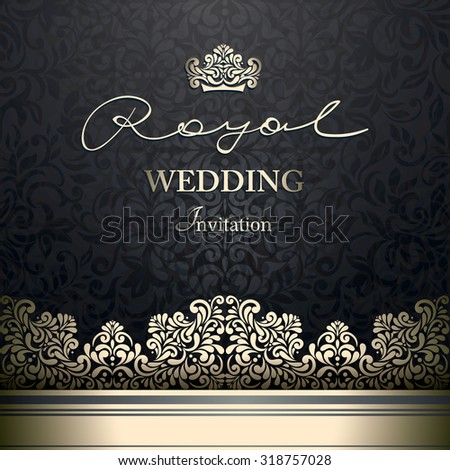 Invitation card Baroque black seamless abstract floral background, Vintage golden border and design elements