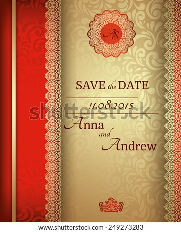 Invitation card stock images royalty free images vectors invitation card baroque golden and red vintage frame border design elements stopboris Gallery