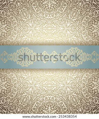 Invitation card Baroque light blue and golden, Vintage  border, seamless background - stock vector