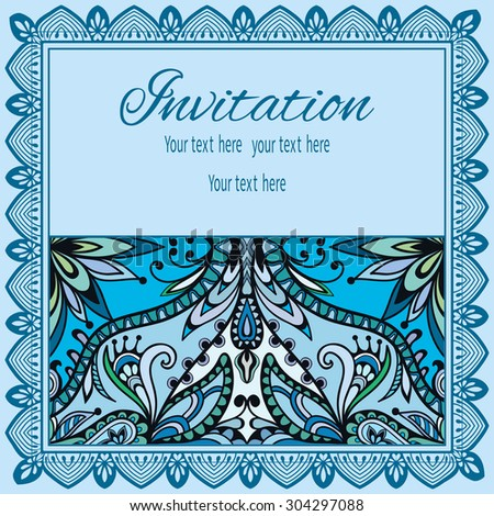 Invitation card design in vintage style with tribal ethnic ornamental pattern and lace border, arabic indian motif. - stock vector