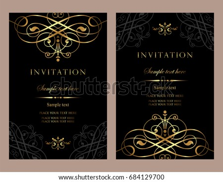 Invitation card design luxury black gold stock vector hd royalty invitation card design luxury black and gold vintage style stopboris Image collections