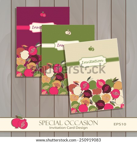 Invitation card design template greeting floral stock photo photo invitation card design template greeting floral card for special occasions life events pomegranate stopboris Image collections