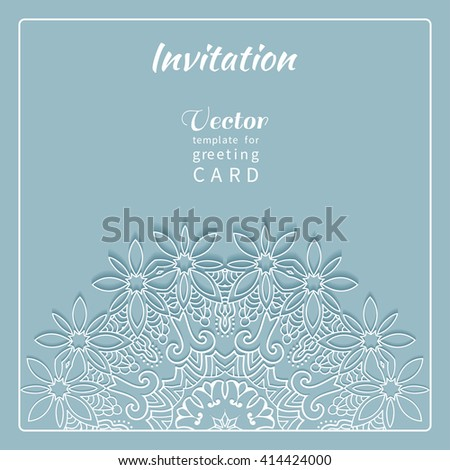 Invitation Card design with lace pattern. Decorative abstract background mandala element, luxury postcard with lace texture for Wedding, Bridal, Valentine's day, greeting cards or Birthday Invitations - stock vector