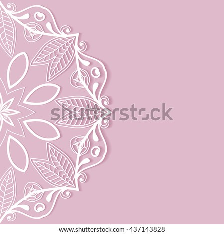 Invitation Card design with lace pattern. Decorative abstract background, mandala element, luxury postcard with lace texture for Wedding, Bridal, Valentine's day, greeting card or Birthday Invitation - stock vector