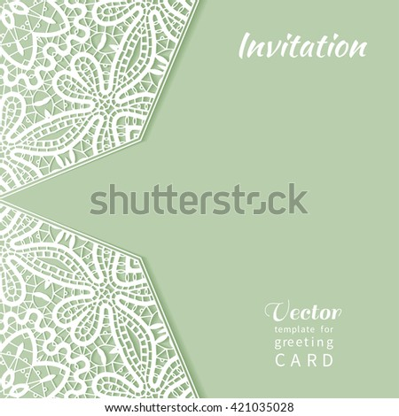 Invitation Card design with lace pattern. Decorative abstract background, mandala elements, luxury postcard with lace texture for Wedding, Bridal, Valentine's day, greeting card or Birthday Invitation - stock vector