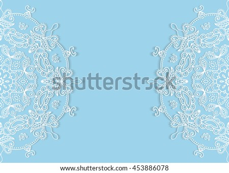 Invitation Card design with lace pattern. Decorative abstract background, mandala elements, luxury postcard with lace texture for Wedding, Bridal, Valentine's day, greeting cards, Birthday Invitations - stock vector