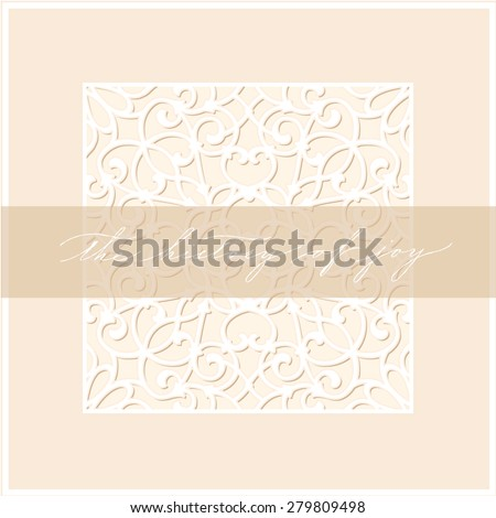 Invitation card design with ornamental background and hand made calligraphy. Vector illustration  - stock vector
