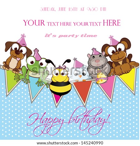 invitation card for celebration, birthday party, welcome baby - stock vector