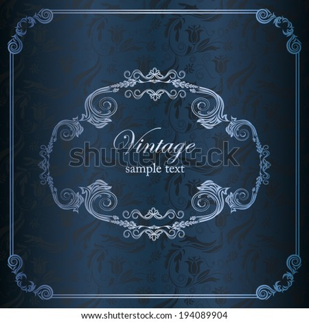 Invitation card lace on seamless damask pattern - stock vector