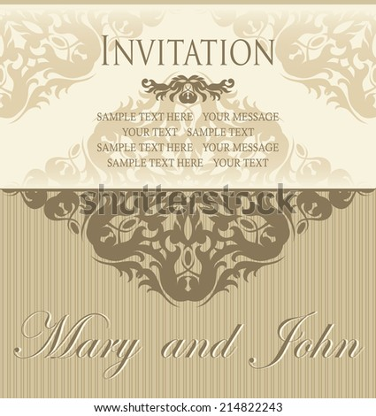 Invitation card. Luxury design. Background in pastel colors